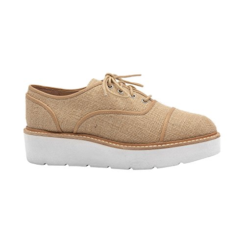 Linea Paolo Mavis   Mujeres Handcrafted Platform Lace-up Welted Textil Oxford (nueva Primavera) Tan Toile