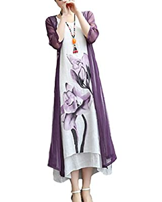 BubbleKiss Women Mori Girl Style Round Neck Asymmetric Hem Color Block Floral Printed Cotton/Linen Two-Piece Maxi Dress