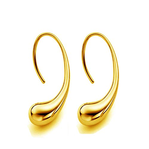 nanzhushangmao 925 Sterling Silver Classic Fashion Design Thread Teardrop Back Drop Earrings Hoop Earrings Gift for Women (Gold)