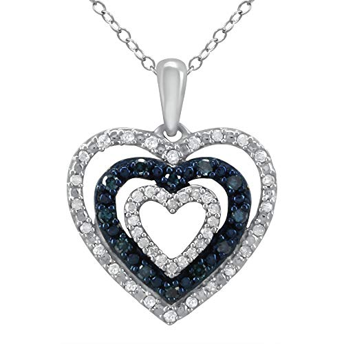 - Triple Heart Pendant for Girls in 925 Sterling Silver Real Diamond Necklace for Women (I-J Color, I2-I3 Clarity) Treated Blue Diamonds Jewelry by Pipa Bella
