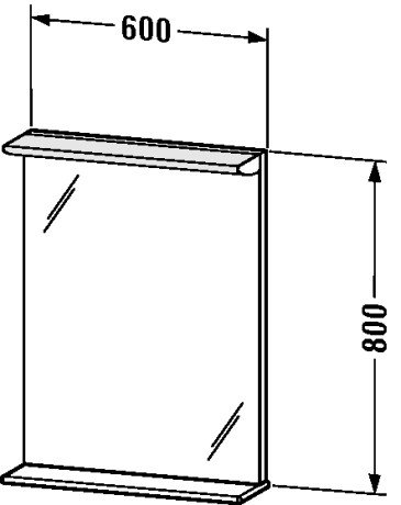 Duravit DN727501818 Mirror 600 14 W with shelf 600 x 170 x 8