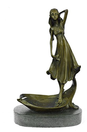 …Handmade…European Bronze Sculpture ART NOUVEAU LADY LOTUS JEWELRY DISH Soap Business Card Holder Tray (YRD1284) Bronze Sculpture Statues Figurine…