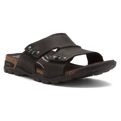 Aetrex Mens Ventura Adjustable Double Strap Slide Sandal,Black,9 M US