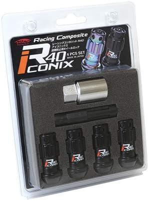 新品*YIA4-1KK*Racing Composite R40 iCONIX Lock 4pcs SET (M12×P1.5) (Aluminum Cap)*ブラック*キャップ ブラック*ロックのみ
