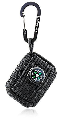 STEVEN G Professional Emergency Paracord Survival Grenade Kit with 12 Tools Including Compass, Fire Starter, Sharp Eye Knife, Tin Foil, Fishing Line, Fish Hooks, Black (15' Float Rod)