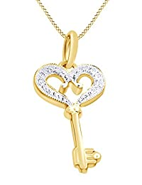 Round Cut White Natural Diamond Heart Key Pendant Necklace In 14K Gold Over Sterling Silver (0.15 Ct)