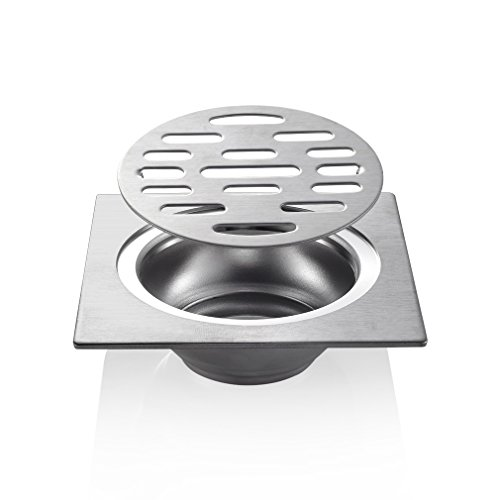 ROVATE 4 Inch Square Shower Floor Drain with Removable Cover, Brushed 304 Stainless Steel (Tile Floor Drain)