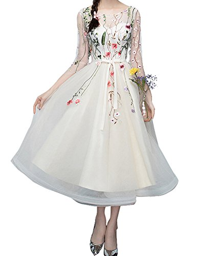 YSMei Women's Calf Length Embroidered Homecoming Prom Dress Flower Lace Formal Gowns Ivory 06