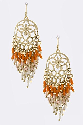 TRENDY FASHION JEWELRY ROUND MOTIF BEAD FRINGE EARRINGS BY FASHION DESTINATION | (Orange)