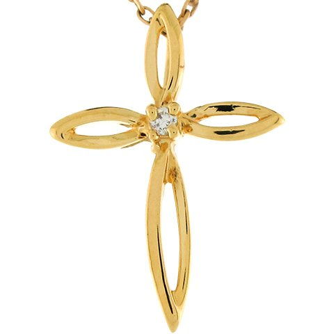 9ct 2.2cm Or Jaune Pendentif Petite Croix éternelle Sertie De Diamants
