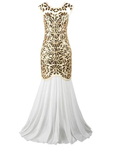 PrettyGuide Women 's 1920s Sequin Gatsby Flapper Formal Evening Prom Dress M White Gold