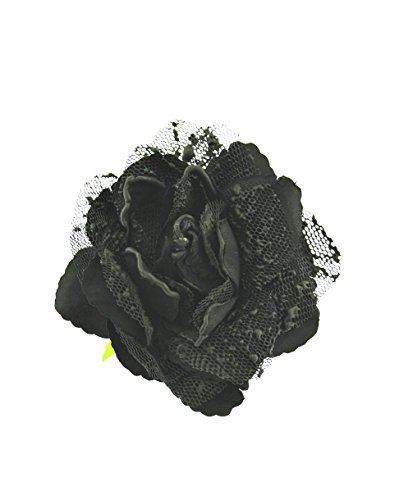 Zac's Alter Ego Women's Vintage Style Rose Flower On Brooch Pin With Net Petals Approx. Diameter 10Cm, Height 6 Cm Black