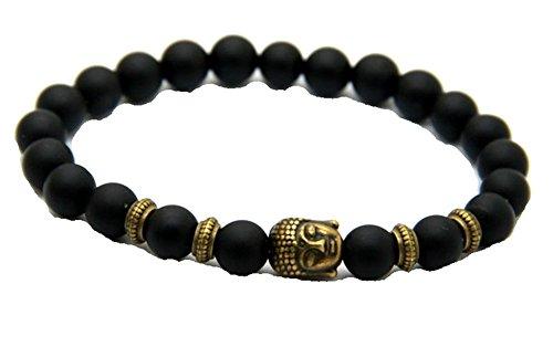 JY Jewelry 8MM Black Matte Agate Bronze Buddha Yoga Stetch Bracelets
