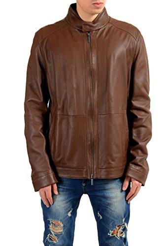 Hugo Boss Nokam 100% Leather Brown Full Zip Men