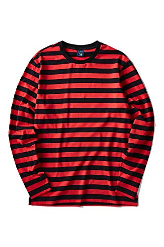 Zengjo Men's Casual Cotton Spandex Striped Crewneck Long-Sleeve T-Shirt Basic Pullover Stripe tee Shirt (XL, Black&RED Wide)
