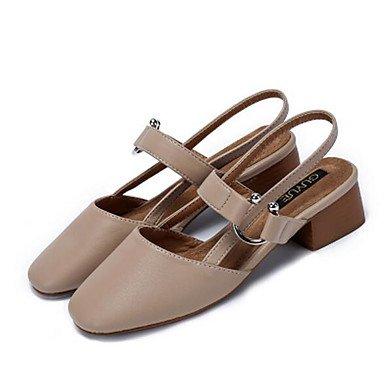 Marrón US8 De Microfibra Primavera Verano Confort UK6 Zapatos Informales EU39 De RTRY CN39 Pu Sintético Mujer Tacones Para Almendra Claro qB6w7an