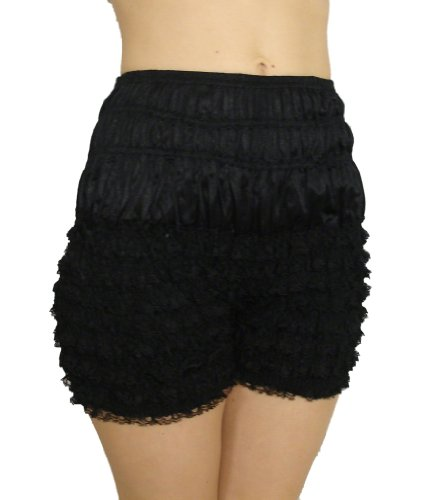 Sam's 502, XX-Large, Black Ruffled Lace Nylon Mid-Thigh Length Pettipant Bloomers Dance Pant