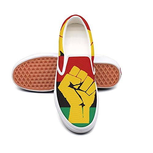Women's Fashion Sneakers Black History Month Black Liberation Flag Comfortable Loafers Slip on Casual Canvas Walking Shoes