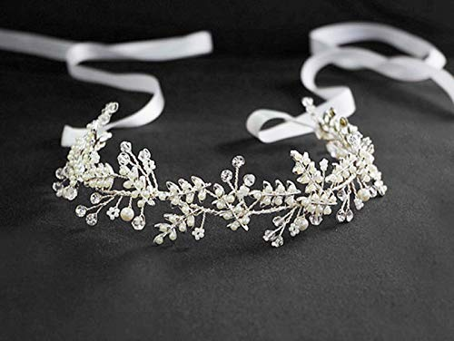 Handmade Austrian Crystal & Pearl Wedding Prom Bridesmaid Satin Ribbon Headband Hair Vine Jewelry Accessory, Clearance Wholesale (Pearl - Wreath Swarovski