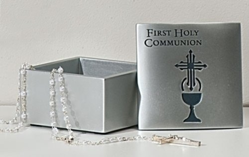 Roman First Holy Communion Brushed Silver Tone 2 Inch Resin Stone Keepsake Box and Lid