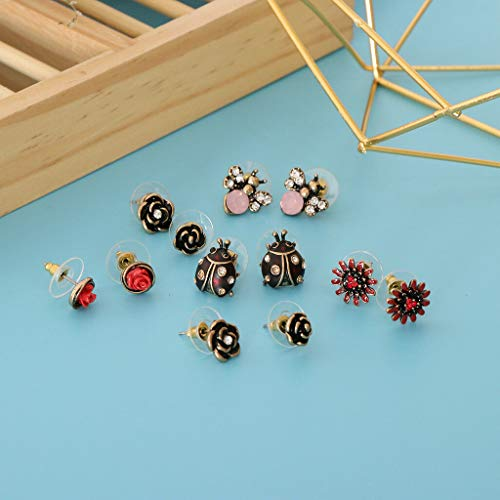 6 Pairs Cute Multiple Assorted Flower Earrings Set for Women Girls Ear Studs Necklace Jewelry Crafting Key Chain Bracelet Pendants Accessories Best| Color - 1
