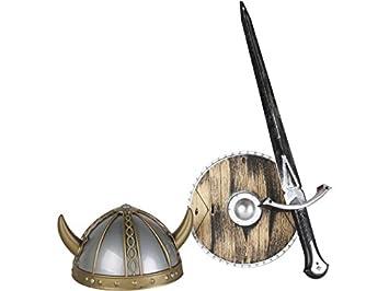 DISONIL Set Vikingo con Espada, Escudo y Casco