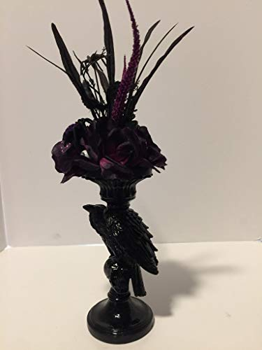 Cattail Candle (HALLOWEEN SCARY -TALL RESIN BLACK RAVEN CANDLE STICK HOLDER VASE - BLACK/PURPLE ROSES WITH PURPLE GLITTER - SPIDERS - PURPLE GLITTER CATTAILS -)
