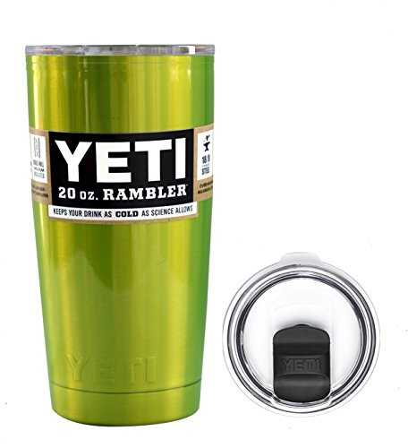 YETI Coolers 20 Ounce (20oz) (20 oz) Custom Powder Coated or Hydro Dipped Rambler Tumbler Travel Cup Mug Bundle with New Magslider Spill Proof Lid (Electric Green)
