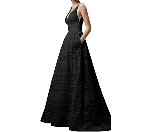 Collocation-Online Plus Size Summer Dress Sexy Sleeveless Black White Lace Dress Elegant Maxi Evening Party,Black,M -