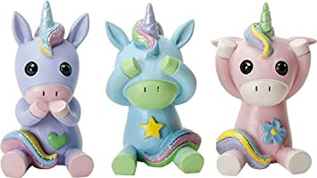 Ebros See Speak And Hear No Evil Unicorns Small Figurine 2.75 Inch Tall Each Colorful Glittery Three Unicorn Collectible Statue