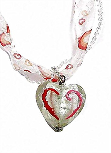 Linpeng Hand Painted Glass Heart Pendant Seed Beaded Ribbon Necklace W/Magnetic Clasp -