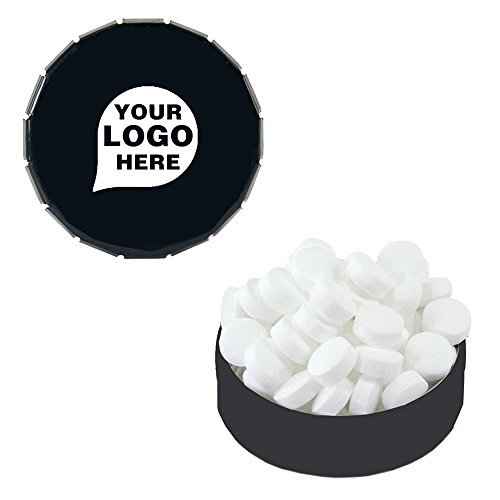 - Small Snap Top Tin with Sugar Free Peppermints - 250 Quantity - 1.85 Each - PROMOTIONAL PRODUCT/BULK with YOUR LOGO/CUSTOMIZED