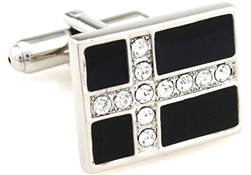 (MRCUFF Cross Crystals Rectangle Christian Pair Cufflinks in a Presentation Gift Box & Polishing Cloth)