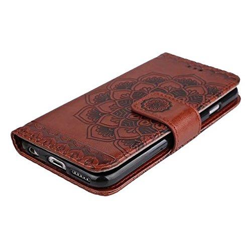 JIALUN-carcasa de telefono Funda de cuero de la caja del cuero del Faux con la correa y el sostenedor del sostenedor y Kickstand y ranuras del efectivo de la tarjeta para el iPhone 6 y 6s ( Color : Gr Brown