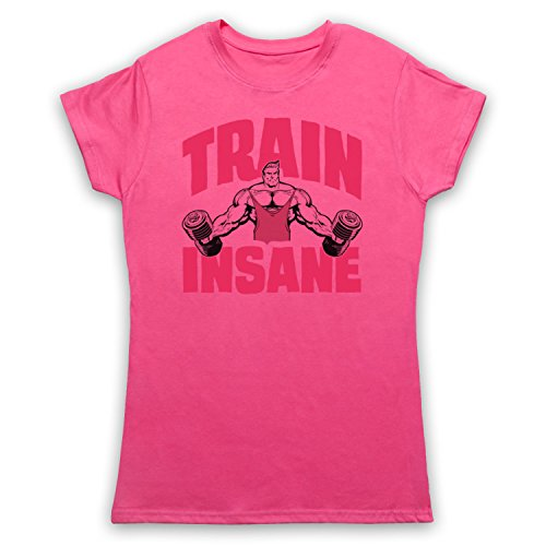 Train Insane Gym Workout Slogan Camiseta para Mujer Rosa