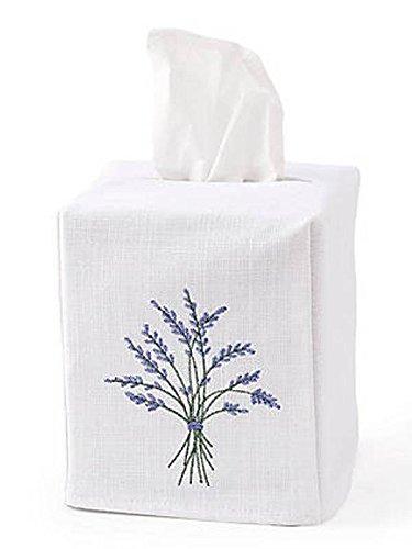 - Jacaranda Living Linen/Cotton Tissue Box Cover, Blue Heather, Blue