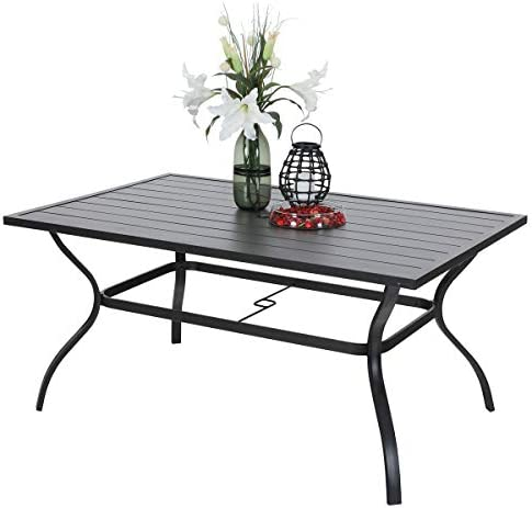 PHI VILLA Outdoor Patio 60 x38 Rectangular Dining Table for 6 Person with Umbrella Hole – Black