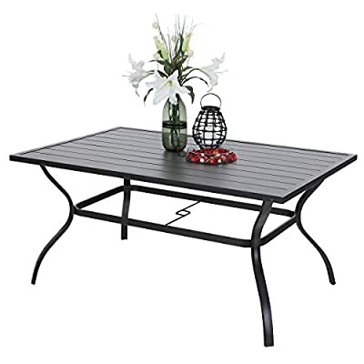 "PHI VILLA Outdoor Patio 60""x38"" Rectangular Dining Table for 6 Person with Umbrella Hole - Black - Durable metal steel frame longevity with e-coating,rust resistant and weather resistant,bring you years of enjoymen; Stylish modern metal design makes the extra wide slatted desktop slat steel table top and the side frame use stamping process,no welded points,very sturdy, easy to assemble and easily cleaned up with damp cloth and water; This 6-person dining table is perfect for outdoor or indoor family dinners and parties; - patio-tables, patio-furniture, patio - 41aVaDb 4DL. SS400  -"