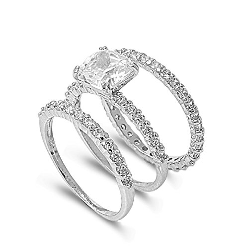 CloseoutWarehouse Princess Cut Center with Round Stones Cubic Zirconia Wedding Set Ring Sterling Silver Size 7