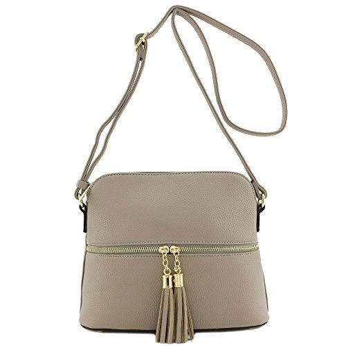 Taupe Tassel - Tassel Zipper Pocket Crossbody Bag