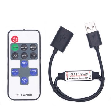 Led Strip Accessories - Dc5-24v 11 Keys Mini Usb Rf Wireless Dimmer Remote Control Led Controller For Single Color Strip - Keys Mini Rf Wireless Controller - 1PCs