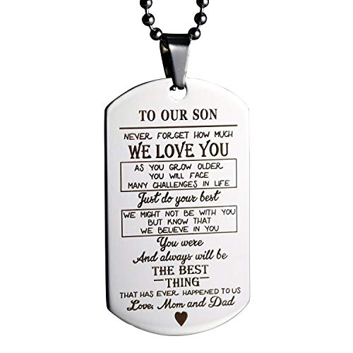 MeiHaoTo Our Son Daughter Pendant Necklace Love Dad Mom Dog Tag Military Necklace Birthday Graduation Gift for Kids (to Our Son)