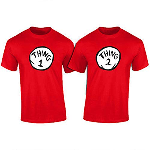 Thing 1,2,3,4,5,6 Funny T-Shirt (Kids M (10-12)) Red -