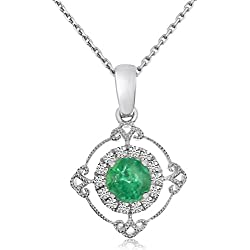 "0.30 Carat (ctw) 14k Gold Round Green Emerald and Diamond Circle Pendant with 18"" Chain Necklace (3.5 x 3.5 MM)"