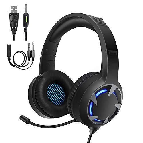 Turnraise Stereo Gaming Headset[2019 NEWEST]for PS4,PC,Xbox One Controller,Over-Ear Headphones with Noise Cancelling Soft Memory Ear Pads, LED Light,Bass Sound,Compatible for,Laptop,Tablet,Smartphone