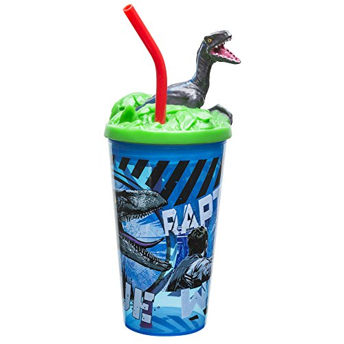 Zak Designs 15oz Jurassic World 2 Funtastic Tumbler With Straw And Unique 3D Character On Lid - Sculpted Design Stands Out, Screw-on Lid With Durable Straw Keeps Liquids In, Jurassic -