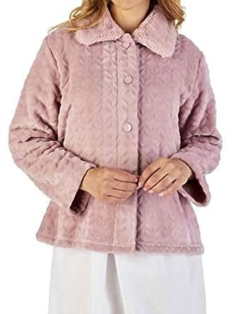 "Slenderella Ladies 24""/61cm Light Pink Luxury 300GSM Soft Thick Velvet Fleece Faux Fur Collared Button Up Bed Jacket Large UK 16/18"
