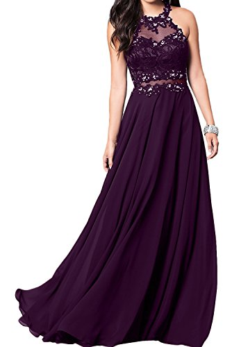 Rueckenfrei Damen Grape Ballkleid Applikation Spitze Ivydressing Partykleid romantisch bodenlang Strass aermellos Tuell Chiffon Neckholder Abendkleid HwZ4zqg