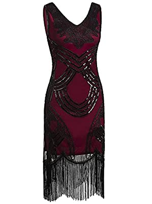Vijiv 1920s Flapper Dresses 20s Gatsby Sequin Charleston Fringe Cocktail Dress