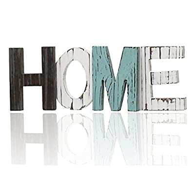 HAOLIVE Rustic Wood Home Decorative Sign, Standing Cutout Word Décor Letters for Home, House, Living Room and Wall Décor